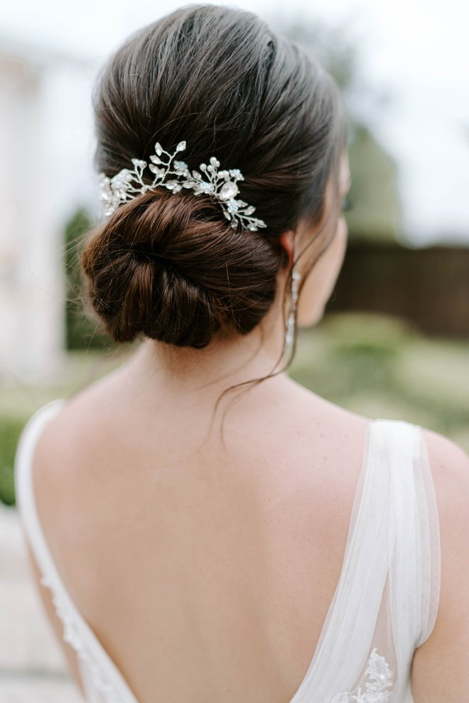 bridal, hair, hairstyle, updo, bun, elegant, accessory, headpiece