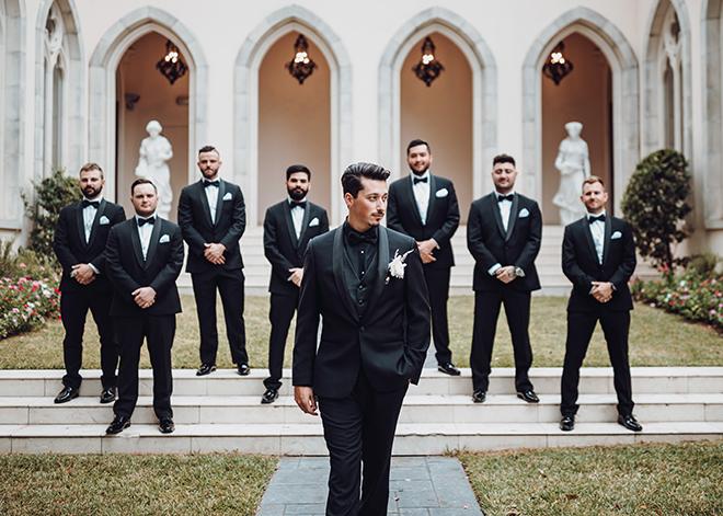 groomsmen, black suit, black bow tie, groom, groom suit, attire