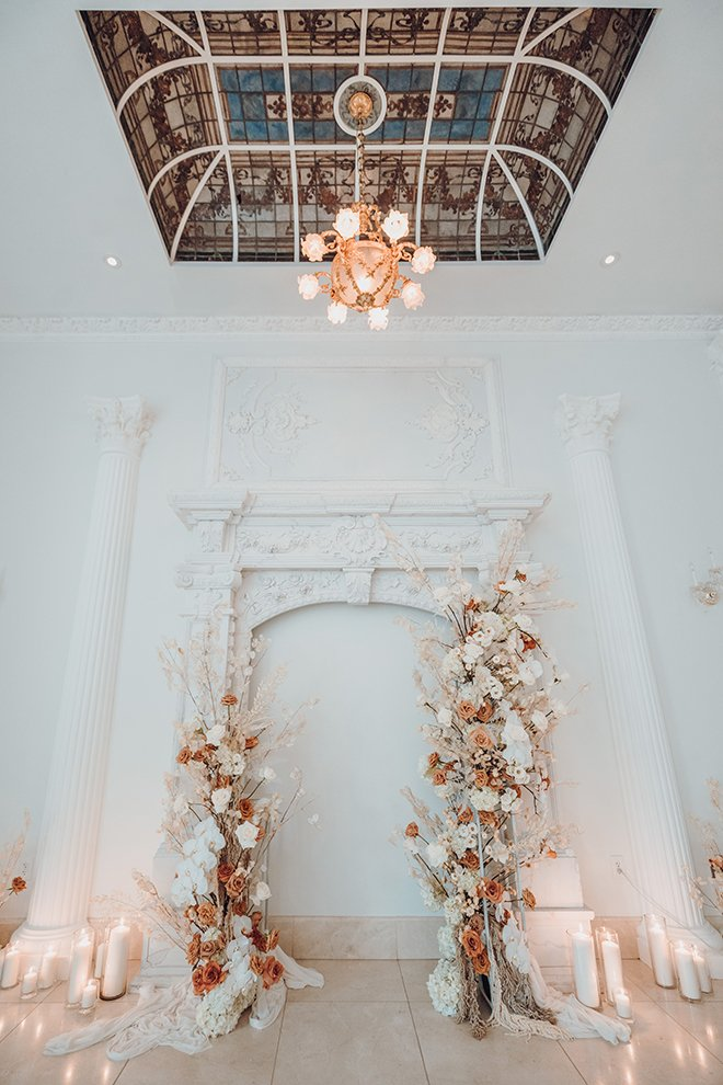 ceremony decor, french venue, modern wedding, floral arch, roses, ivory, white, neutral, terracotta, color palette