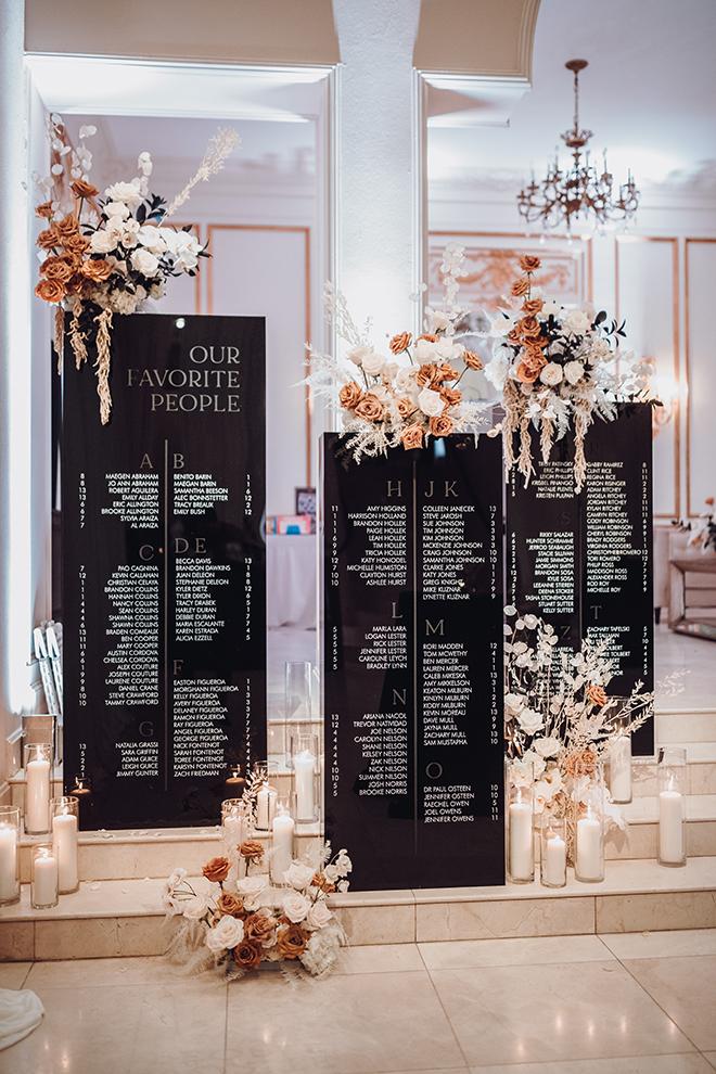 acrylic signage, modern wedding, candles, reception decor, seating chart, black, white, ivory, unique
