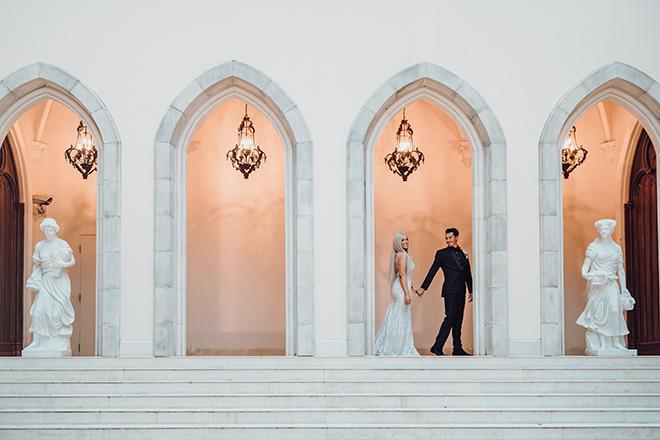 wedding photography, ama by aisha, outdoor wedding photos, french venue, black suit, veil