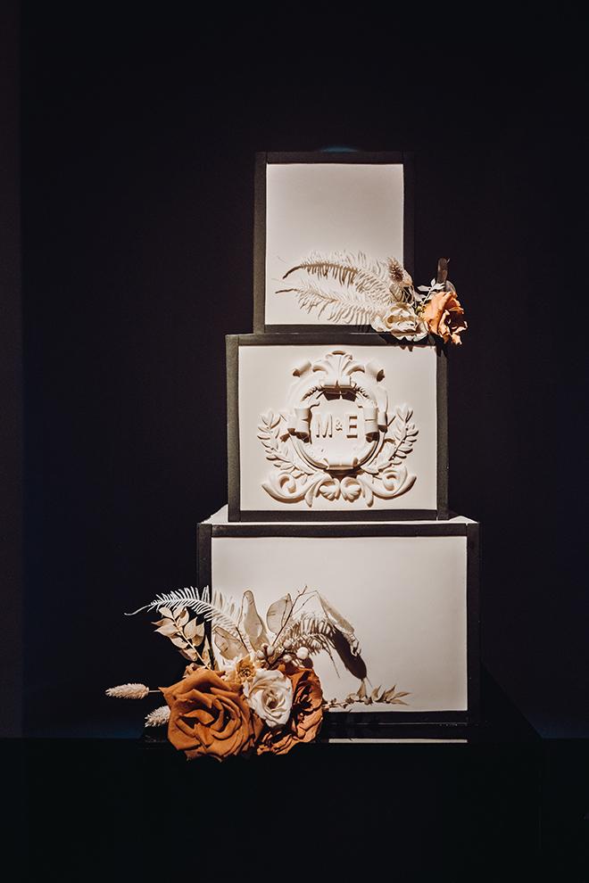 square wedding cake, modern, unique, flowers, roses, black, white, monogrammed