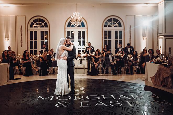 first dance, bride, groom, ama by aisha, black, dance floor, custom, bridal gown