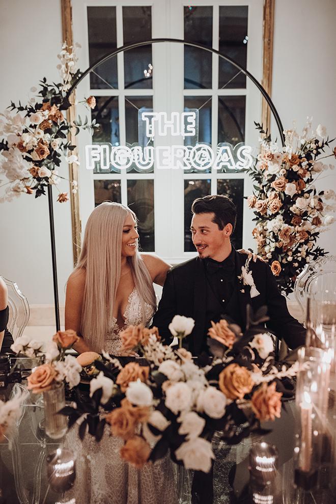 bride, groom, custom neon sign, ghost chairs, reception decor, ama by aisha