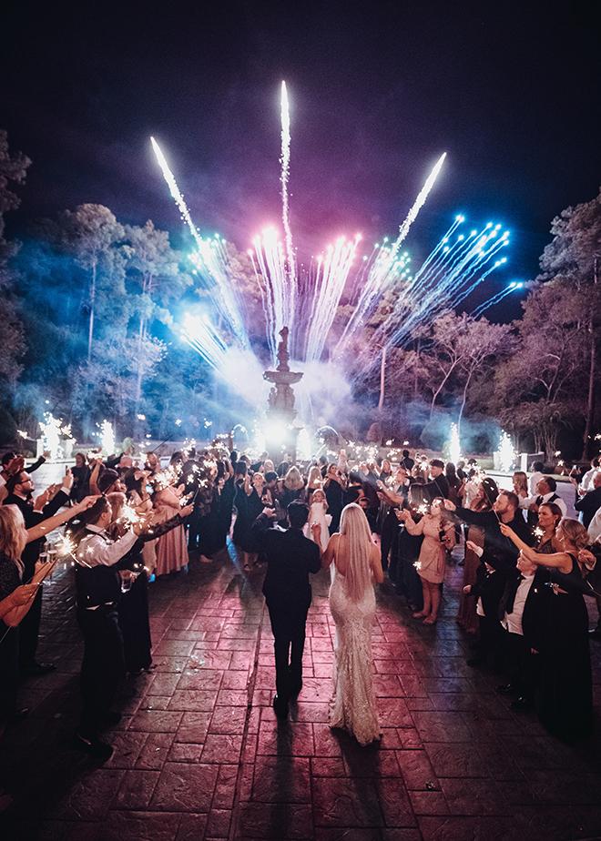 grand exit, wedding sendoff, fireworks, sparklers, unique