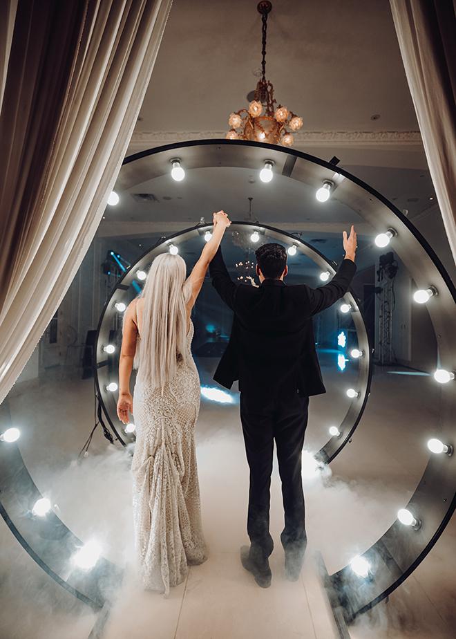 wedding after party, reception decor, smoke machine, party, club, bride, groom
