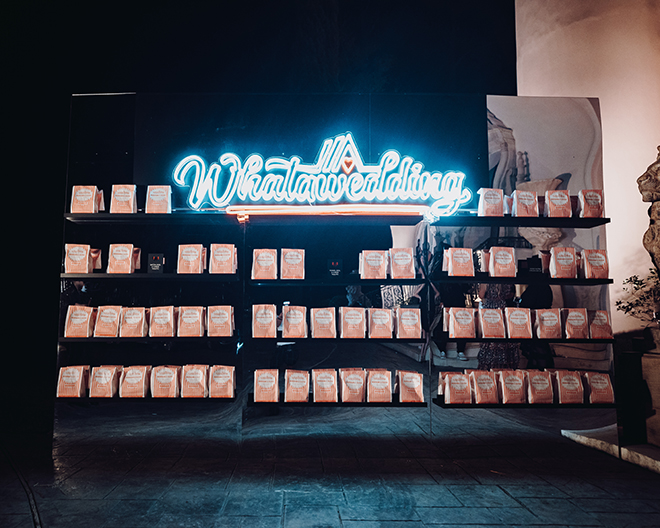 wedding favors, whataburger, neon sign, reception, wedding ideas, texas