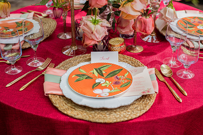 red, linens, gold, flatware, floral, dinnerware, orange, pink, centerpiece, table setting