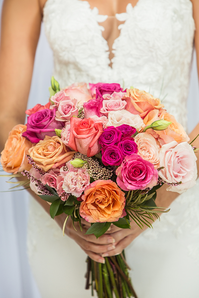 bouquet, bridal, pink, orange, white, blush, roses, carnations, kirksey gregg productions, flowers, floral, wedding