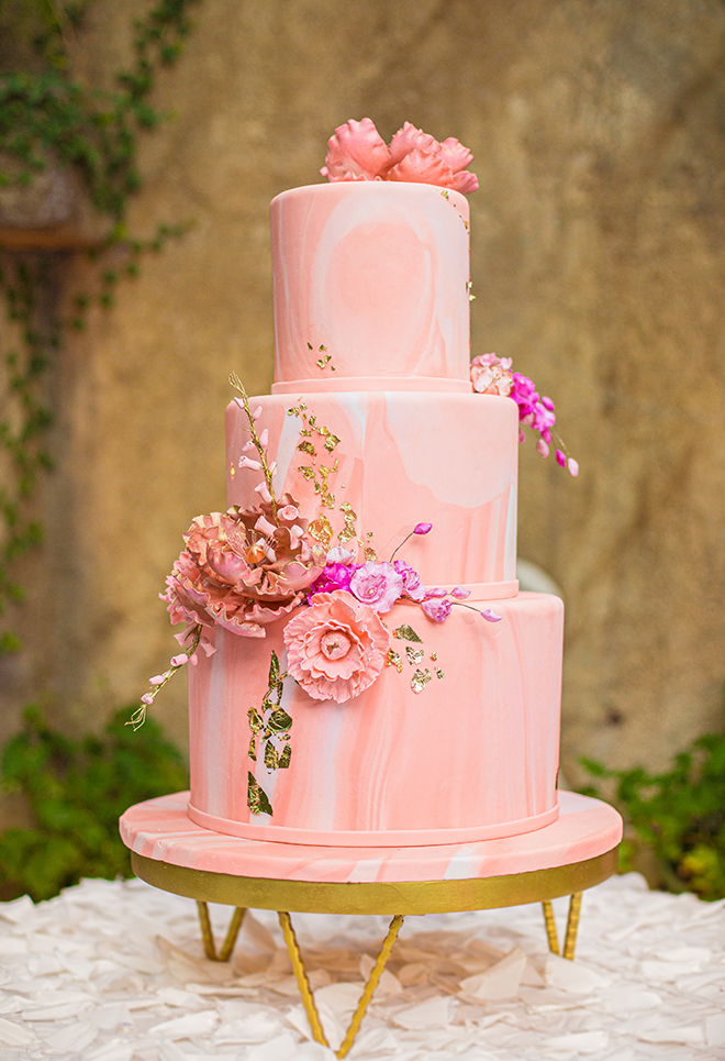 wedding cake, pink, marble, floral, flowers, gold, susie's cakes