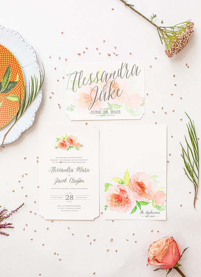wedding, invitations, stationery, watercolor, floral, berings