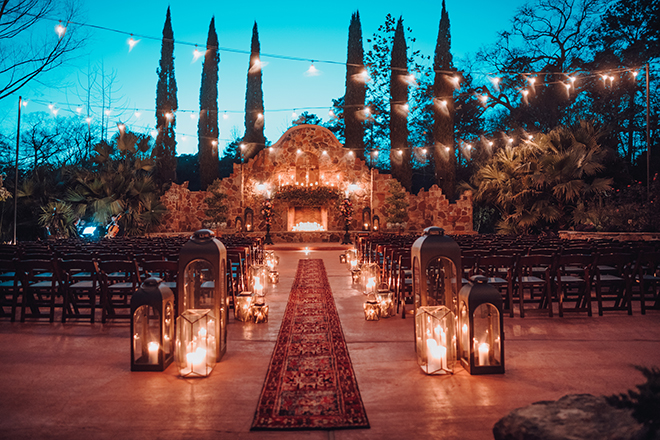 outdoor ceremony, twinkle lights, candes, carpet runner, madera estates, ama by aisha, night, evening