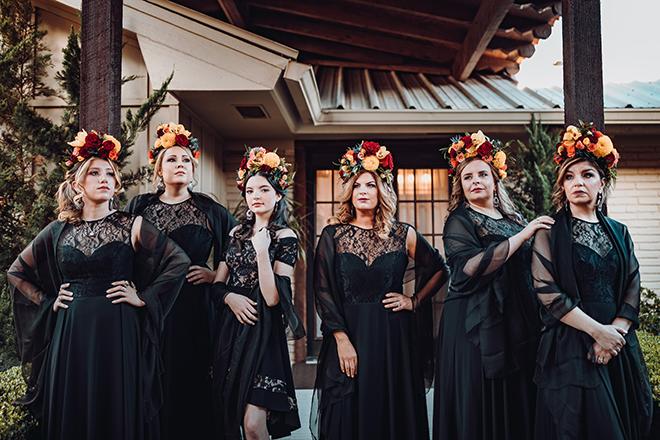 bridesmaids, wedding party, frida kahlo headpieces, flower crowns, red, yellow, orange, roses, ama by aisha, madera estates, spanish-inspired wedidng, vintage