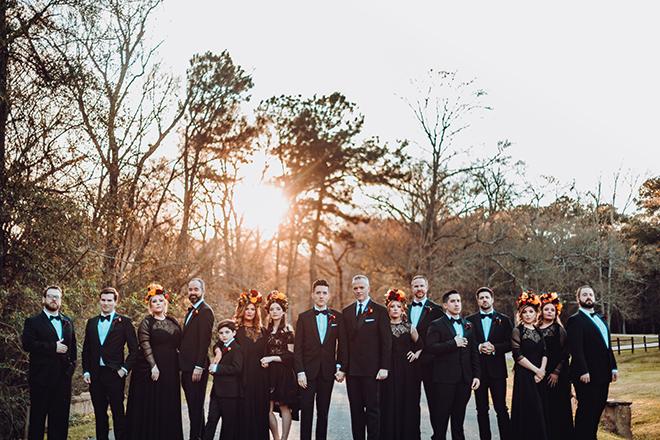 bridesmaids, wedding party, frida kahlo headpieces, flower crowns, red, yellow, orange, roses, ama by aisha, madera estates, spanish-inspired wedidng, vintage, groomsmen