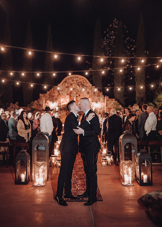 outdoor ceremony, twinkle lights, candes, carpet runner, madera estates, ama by aisha, same sex wedding, gay wedding, lgbt, real wedding