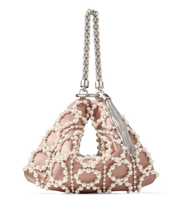 pearl bridal handbags, blush, pink, jimmy joo, callie, satin, clutch, wedding, elegant, luxury