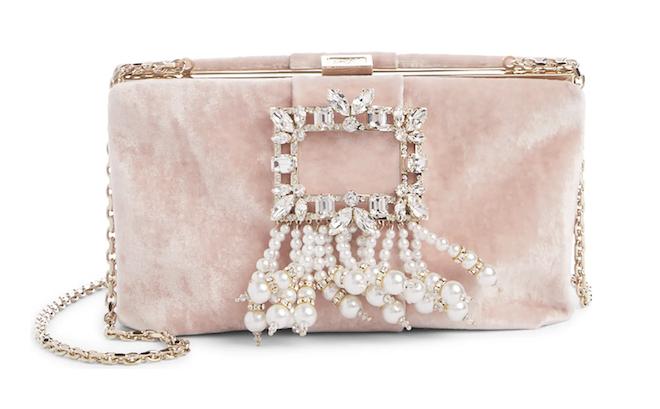 pearl bridal handbag, cross body chain, clutch, multifunctional, roger vivier, blush