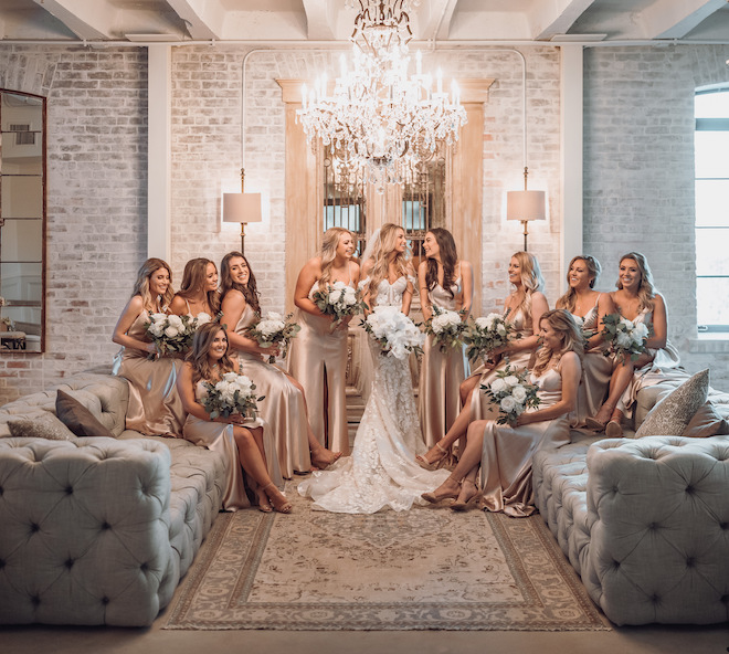 bridal suite, soho suite, the astorian, french, victorian, unique, luxury, beautiful, bride, bridesmaids, champagne bridesmaids dresses, silk, bride tribe, ama by aisha, bridal portrait, bride, poses, bridal gown, bridal hair, bridal makeup, misty rockwell artistry, orchids, bridal bouquet