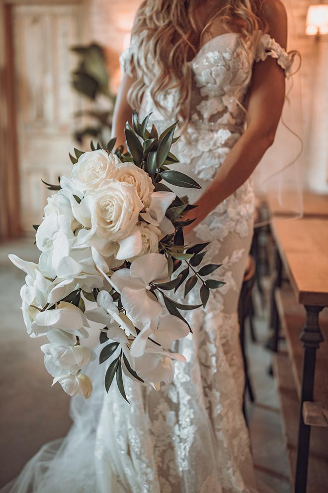 bridal portrait, bride, orchids, bridal bouquet, ama by aisha, bridal gown, lace, off the shoulder