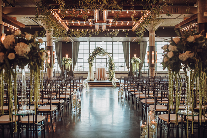 ceremony decor, floral arch, arbor, greenery, white, drapes, flowers, roses, orchids, the astorian, ethereal wedding
