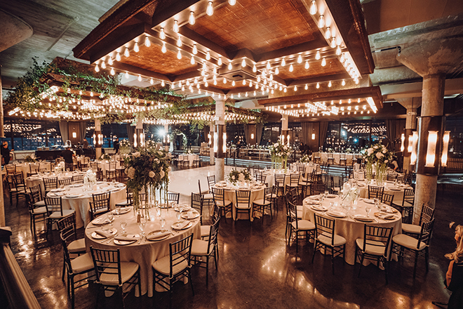 the astorian, reception decor, gold, white, greenery, ethereal wedding, floating candles, enchanting, flora centerpieces