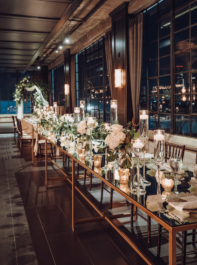 the astorian, reception decor, gold, white, greenery, ethereal wedding, floating candles, enchanting