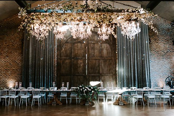 white linens, floral centerpieces, tall, chiavari chairs, silver, blush, burgundy, roses, reception decor, iron manor, romantic wedding