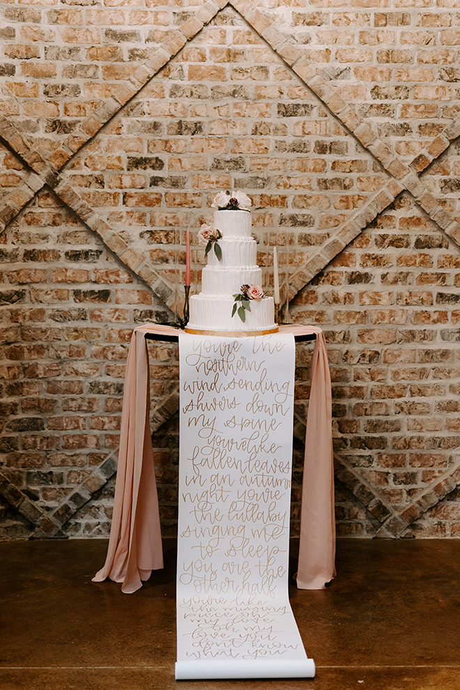 four tier cake, unique, personal, personalized, scroll, blush, ivory, white, roses, lyrics
