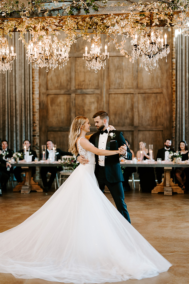 romantic wedding, first dance, wedding moments, reception entertainment, chandeliers, greenery, bride, groom, emily figurelli photography, iron manor, wedding venue