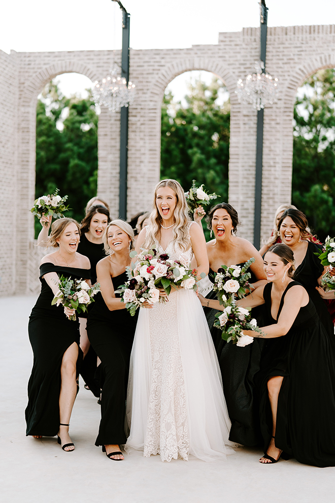 bride, bridesmaids, bridal party, bride tribe, black bridesmaids dresses, outdoor wedding photos, wedding photography, wedding moments, emily figurelli photography, venue, houston, iron manor, bridal bouquet, roses, blush, burgundy
