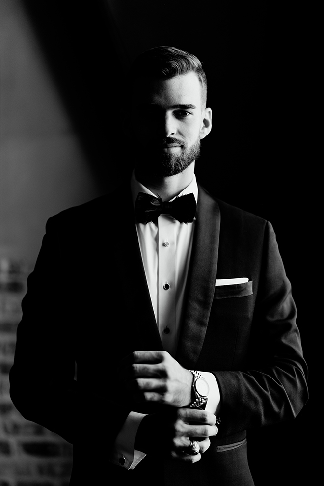 groom, grooms suit, bowtie, black, white, groomswear, accessories, emily figurelli photography