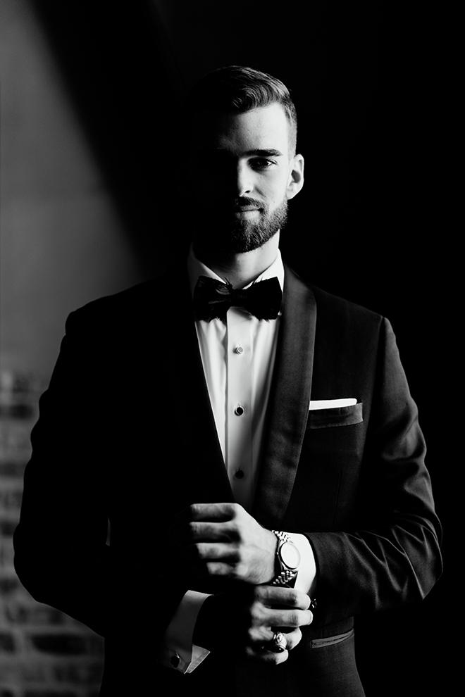 groom, grooms suit, bowtie, black, white, groomswear, accessories, emily figurelli photography
