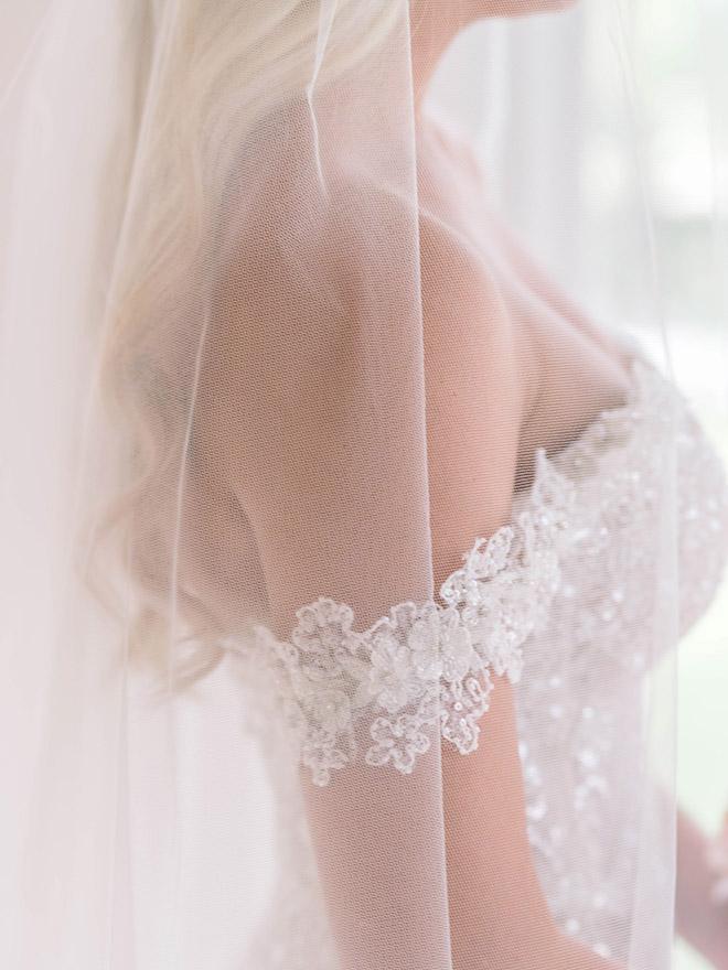 bride, bridal, details, off the shoulder wedding dress, lace, floral, veil