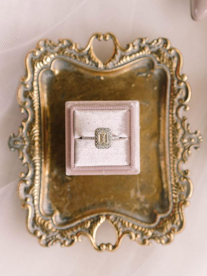 engagement ring, unboxing, emerald cut, vintage, elegant