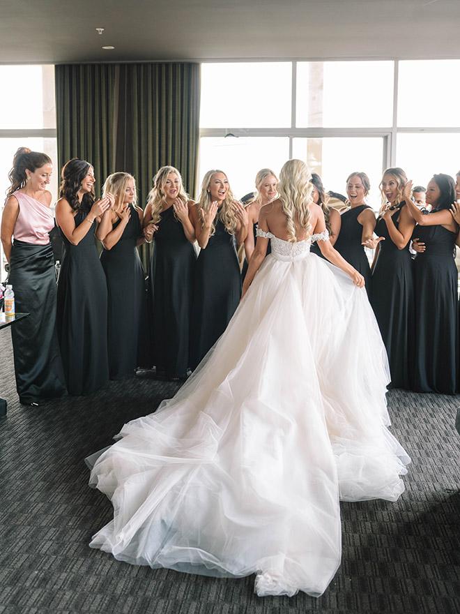 bride reveal, bridesmaids, black, bridesmaids dresses, wedding gown, wedding dress, off the shoulder, bride tribe