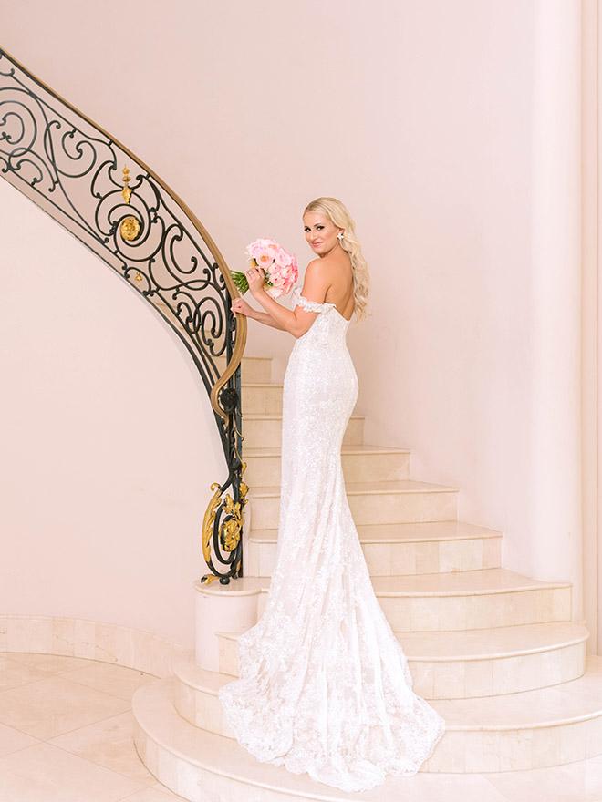 classic wedding, bridal portrait, off the shoulder, wedding, dress, gown, bridal, stephania campos, pink bouquet, roses, ivory, elegant