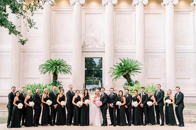wedding party, wedding photography, bridal bouquet, wedding bouquet, white, pink, black bridesmaids dresses, bridal party, grooms party, black suit, tie, elegant