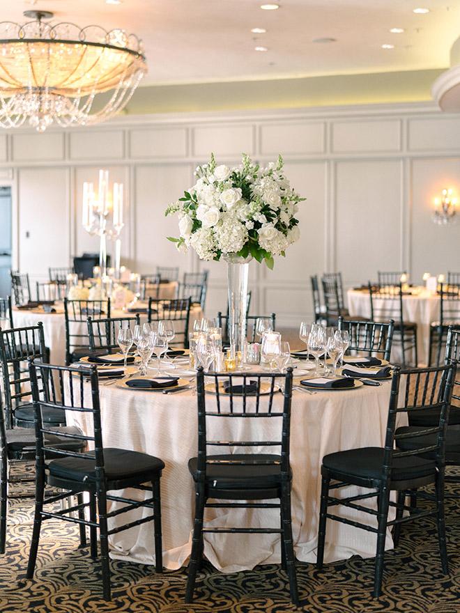 classic wedding, white, gold, black, tall, florals, floral centerpieces, reception decor, roses, hotel zaza, stephania campos, black chiavari