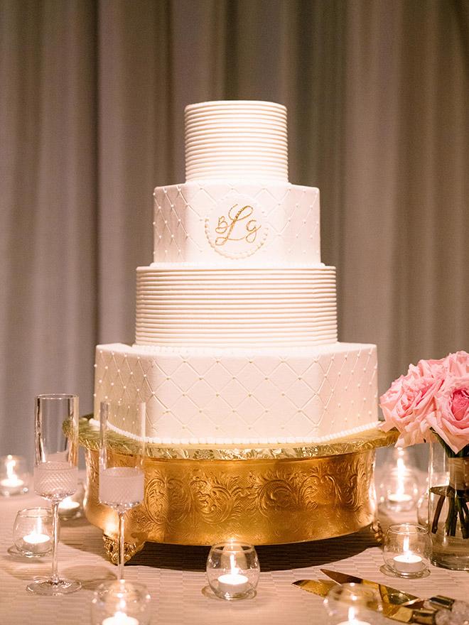 wedding cake, simple, elegant, pearl, monogram, gold, white, ivory, susie's cakes