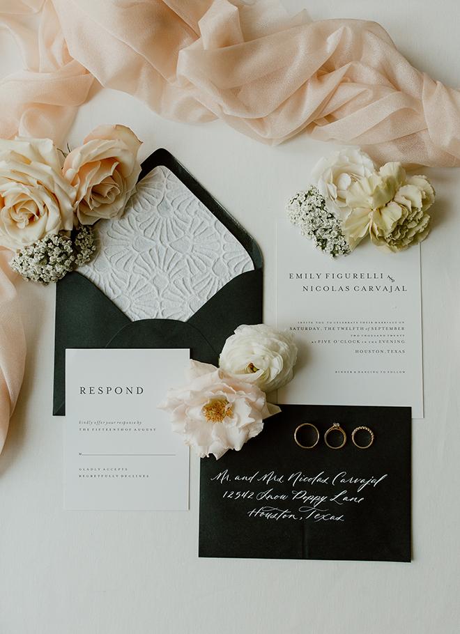 invitations, stationery, roses, blush, white, black, elegant, chic, floral, flatlay