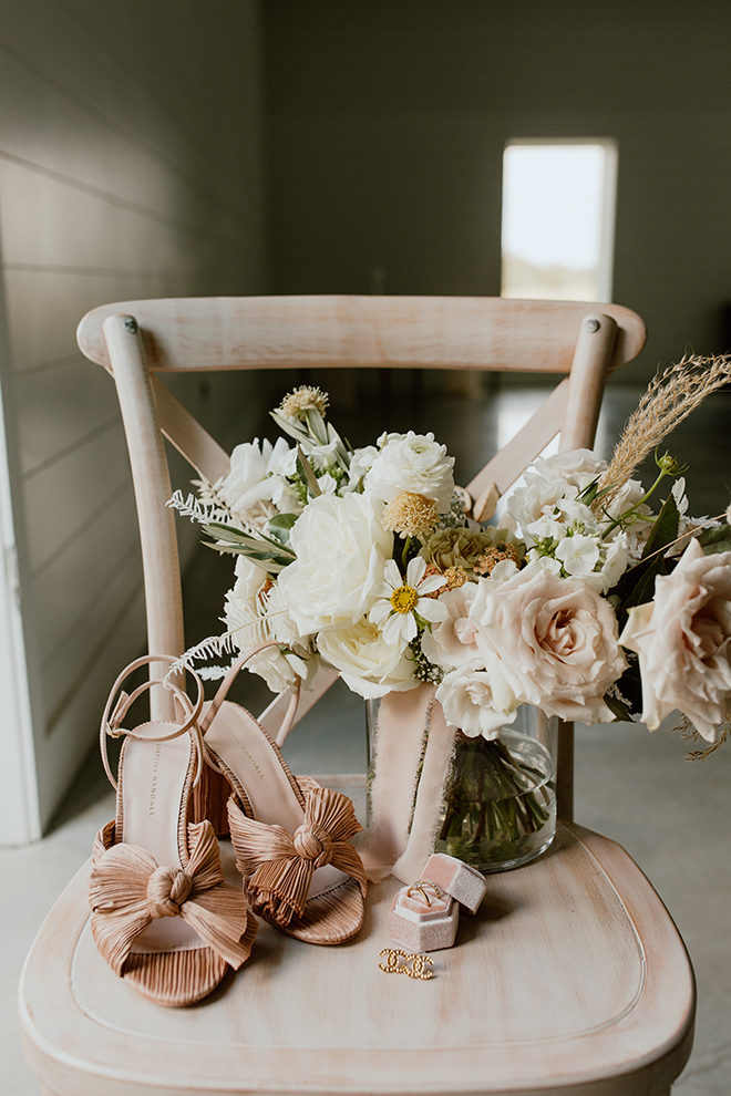 bridal shoes, blush, heels, chic, roses, bridal accessories, ring box