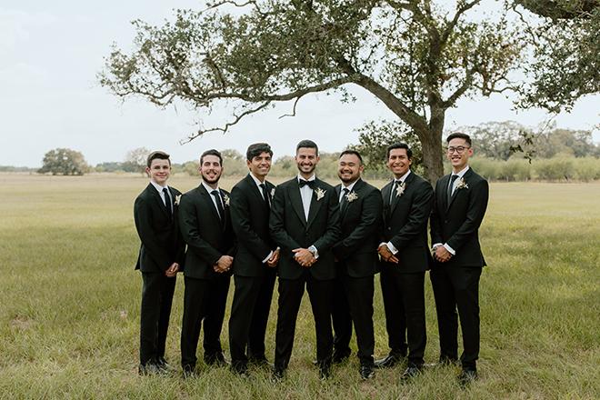 groom, groomsmen, black, suit, tux, bowtie, outdoor, photography