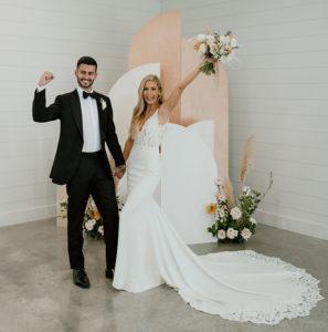 Black, White And Champagne Modern Boho Wedding