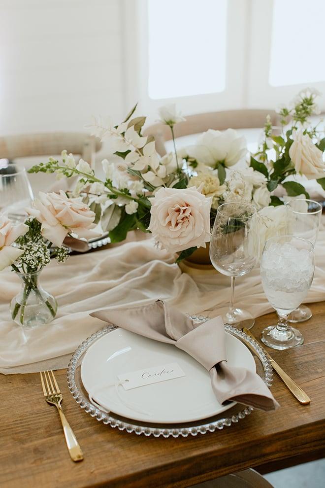 reception decor, sheer runner, champagne, modern, boho, wedding, floral centerpiece, roses, farm table