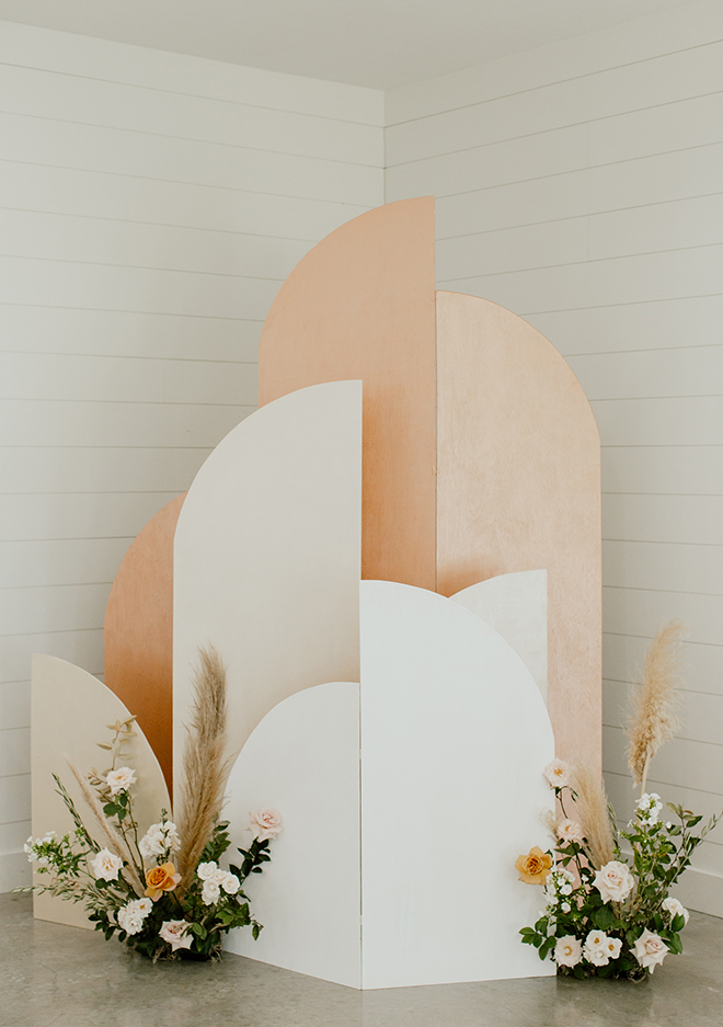 modern, boho, wedding, blush, white, black, champagne, picture wall, abstract, pampas grass