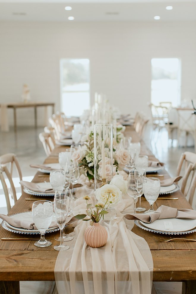 reception decor, blush, rustic, long table, sheer runner, champagne, modern, boho, wedding, decor