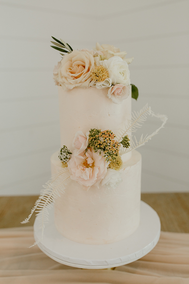 wedding cake, small, two tier, roses, blush, white, ivory, floral accents, simple, elegant, cute