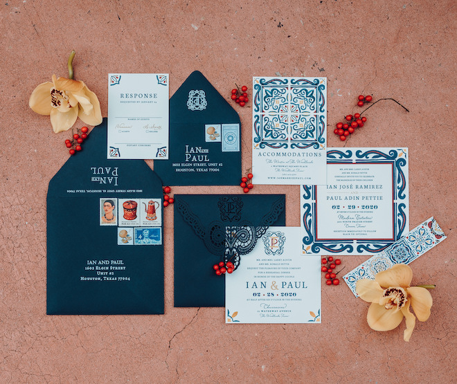 wedding, stationery, invitations, blue, red, yellow, frida kahlo, spanish-inspired, spanish tile, vintage