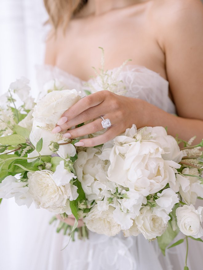 bridal bouquet, white, ivory, engagement ring, diamond, emerald cut, silver, white gold