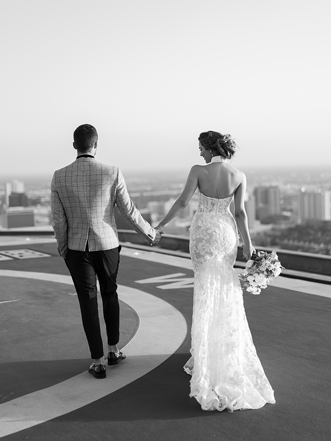 halter bridal gown, bride, groom, luxury, wedding editorial, inspiration, stephania campos, helicopter, helicopter pad, post oak hotel, uptown, houston,
